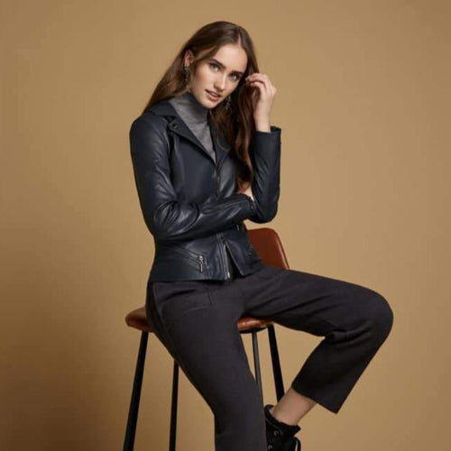Soft Black Genuine Leather Jacket from Rocco Womenswear Boutique Dublin