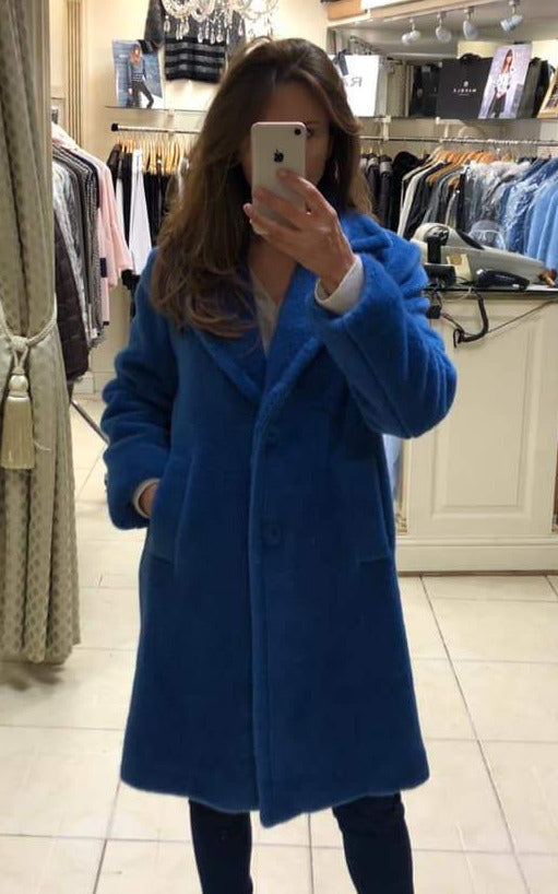 Royal Blue Long Cozy Coat