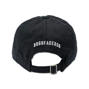 Doggface208 Embroidered Black Strapback Hat back view by the longboard riding, cranberry juice drinking viral sensation Nathan Apodaca aka DoggFace