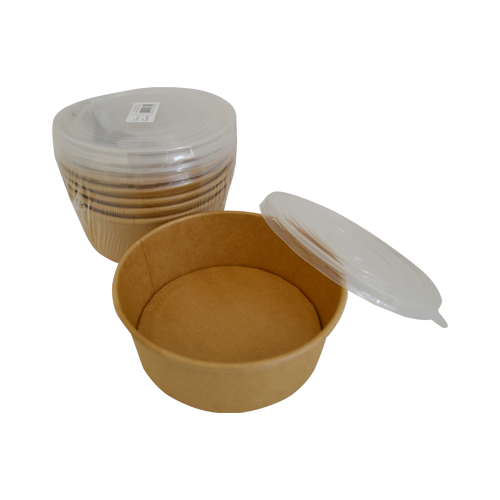 Kraft Salad Bowl with Plastic Lids | 1090ML | Pack of 5