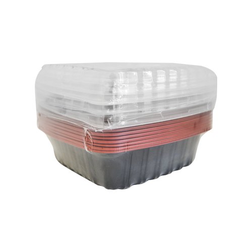 Red & Black base Container Rectangular 650ML with Lids | Pack of 10