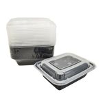 Black base Container Rectangular 12oz with Lids | Pack of 15