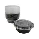 Black base Container Round 32oz with Lids | Pack of 15