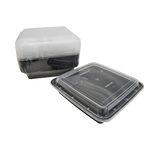 Black Base Container Square 48oz with Lids | Pack of 15