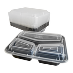 Black Base Container Rectangular with Lids | 3 Compact Tray | Pack of 15