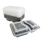 Black Base Container Rectangular with Lids | 2 Compact Tray | Pack of 15