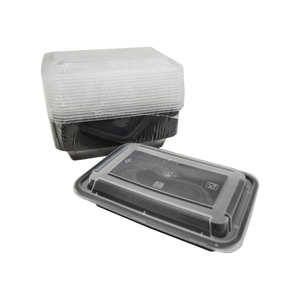Black Base Container Rectangular 16oz with Lids | Pack of 15