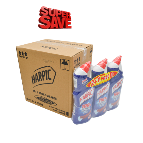 Harpic Liquid Original (2+1) 750ML | Pack of 4 (12 Bottles)