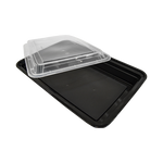 Black base Container Rectangular 58oz with Lids | Pack of 15