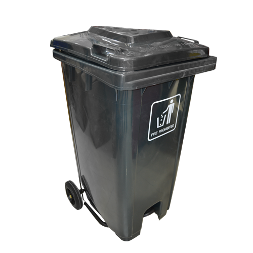 Garbage Can with Pedal 240L | Gray Black