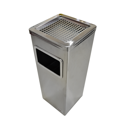 Stainless Steel Square Dustbin with Ashtray
