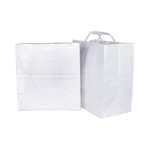 White Bags with Flat Handle H30XW28XB16CM | 25 PCS