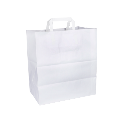 ST White Bags with Flat Handle | Pack of 25