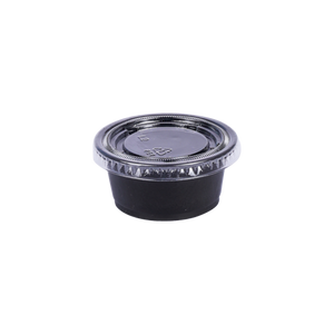 ST Black Souffle Cup PP 2 OZ with Lids | Pack of 100