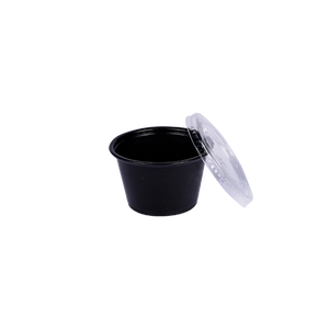 ST Black Souffle Cup PP 4 OZ with Lids | Pack of 100