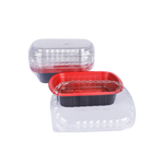 Red & Black Base Container Rectangular with Lids 800ML | Pack of 10