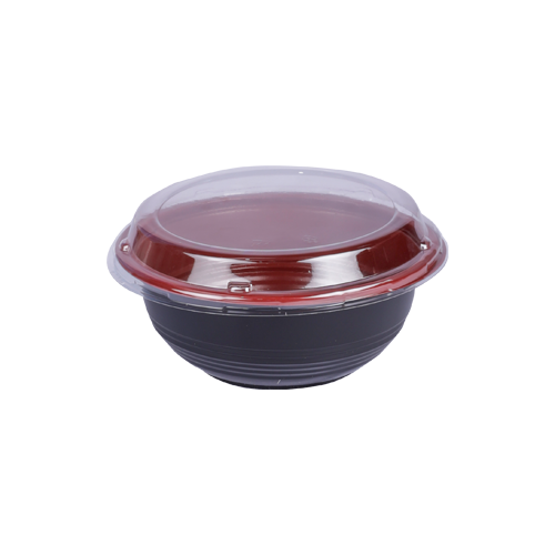 Red & Black Base Soup Bowl with Lids 550ML | Pack of 10