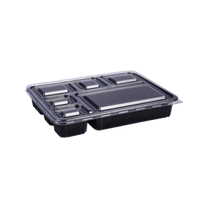 Black Base Container 6 Sections with Lids | Pack of 5