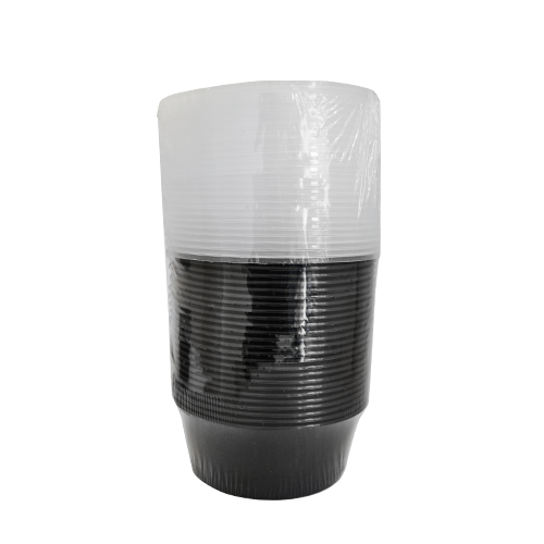 Black Base Container Round with Lids 12oz  | Pack of 25