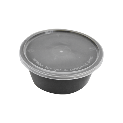 Black Base Container Round 12 OZ with Lids | 25 PCS