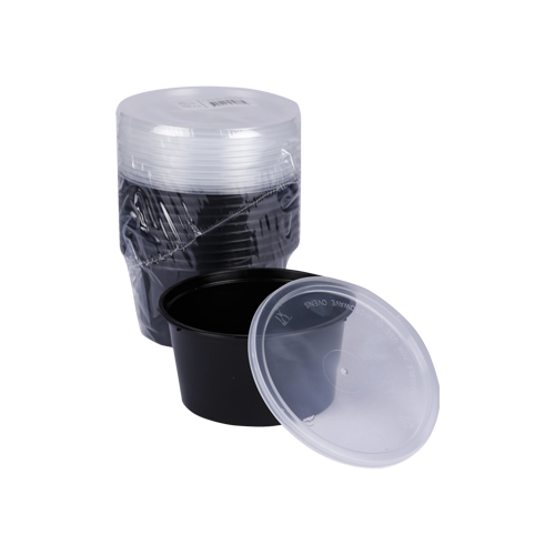 Black Base Container Round with Lids 16oz | Pack of 10
