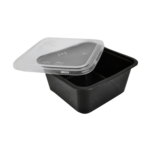Black Base Container Square 250ML with Lids | Pack of 25