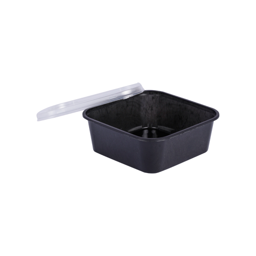 Black Base Container Square with Lids 350ML | Pack of 25