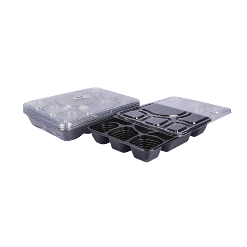 Black Base Container 8 Sections with Lids | Pack of 5