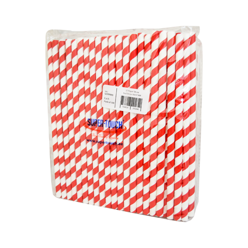 Paper Straw Red Stripe 8x197mm | 100pcs/Pack