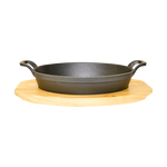 Cast Iron Oval Pan + Wood