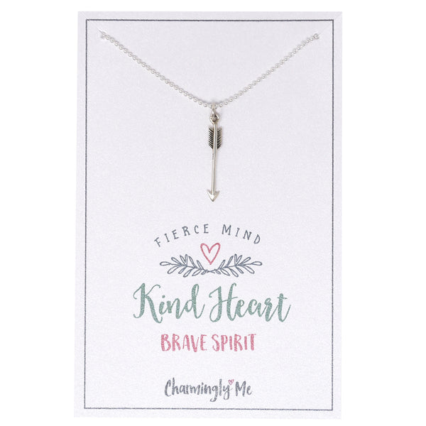 """Kind Heart Brave Spirit"" Sterling Silver Arrow Charm Necklace"