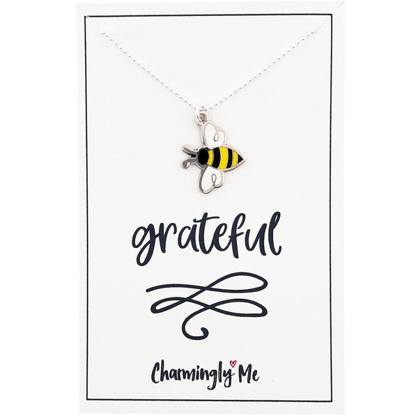 """Bee Grateful"" Bumble Bee Enamel Charm Necklace on Gift Message Card"