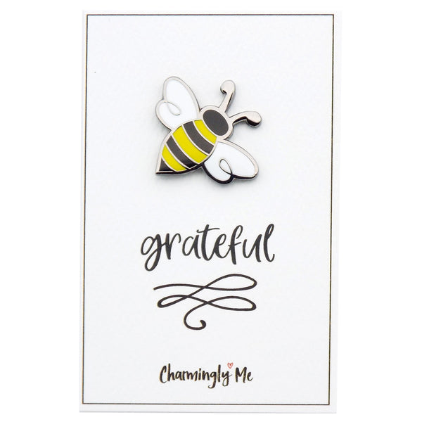 """Bee Grateful"" Bumble Bee Lapel Pin on Greeting Card"