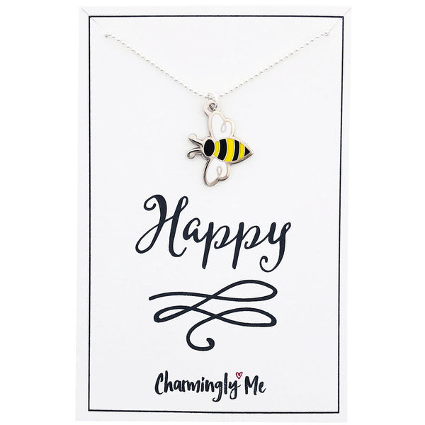 """Bee Happy"" Bumble Bee Enamel Charm Necklace on Gift Message Card"