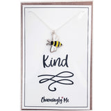 """Bee Kind"" Bumble Bee Enamel Charm Necklace on Gift Message Card"