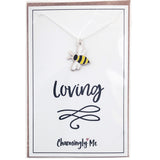 """Bee Loving"" Bumble Bee Enamel Charm Necklace on Gift Message Card"