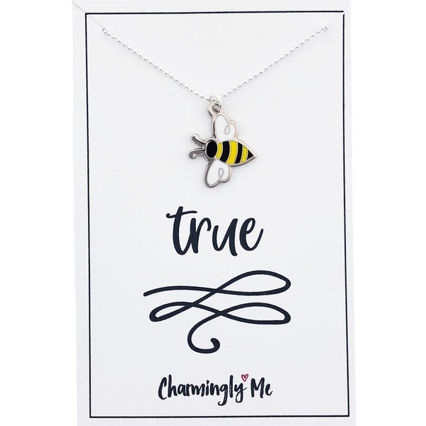 """Bee True"" Bumble Bee Enamel Charm Necklace on Gift Message Card"