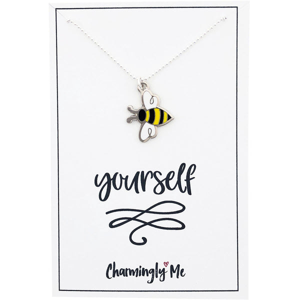 """Bee Yourself"" Bumble Bee Enamel Charm Necklace on Gift Message Card"