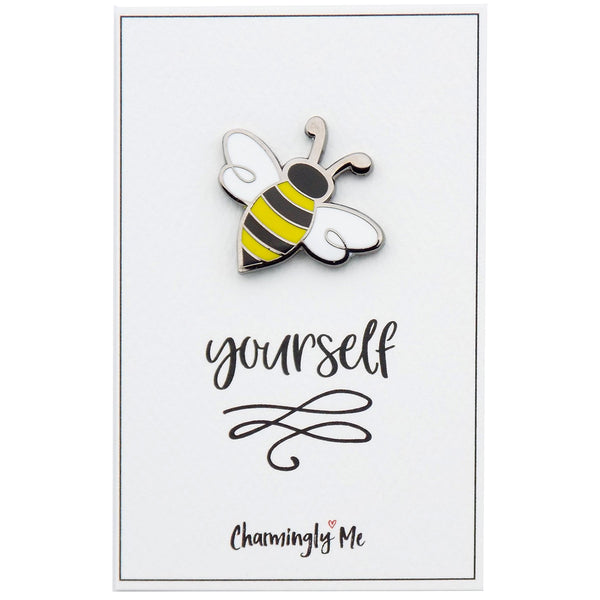 """Bee Yourself"" Bumble Bee Lapel Pin on Greeting Card"