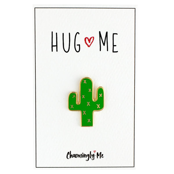 """Hug Me"" Enamel Cactus Lapel Pin on Greeting Card"