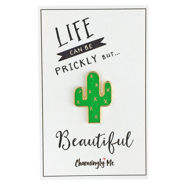 """Life Can Be Prickly But Beautiful"" Enamel Cactus Lapel Pin on Greeting Card"
