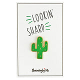 """Lookin' Sharp"" Enamel Cactus Lapel Pin on Greeting Card"