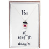 """16 oz of Go Get 'Em"" Coffee Cup Enamel Charm Necklace on Gift Message Card"