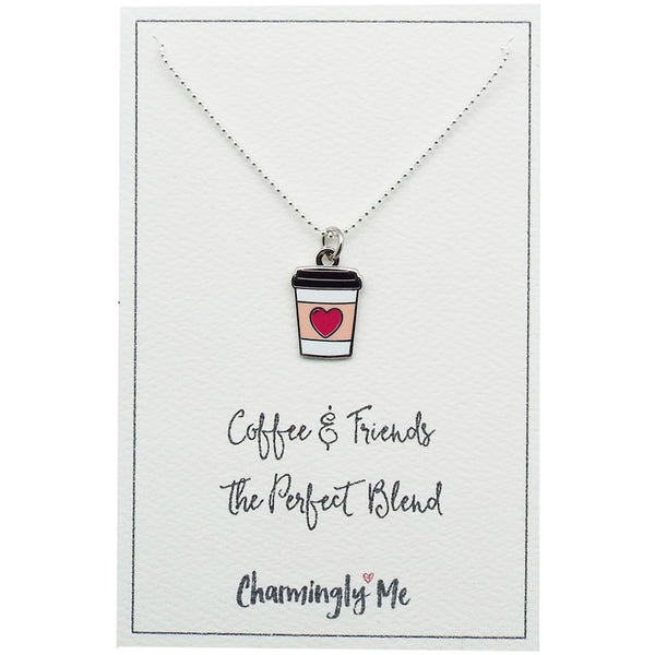 """Coffee & Friends"" Coffee Cup Enamel Charm Necklace on Gift Message Card"