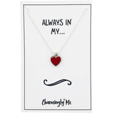 """Always in My"" Heart Enamel Charm Necklace on Gift Message Card"