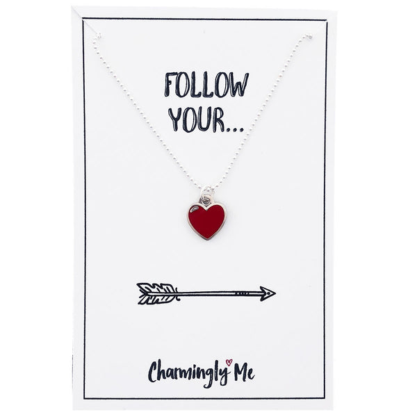 """Follow Your"" Heart Enamel Charm Necklace on Gift Message Card"
