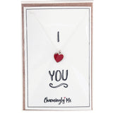 """I Heart You"" Heart Enamel Charm Necklace on Gift Message Card"
