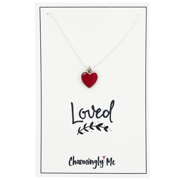 """Loved"" Heart Enamel Charm Necklace on Gift Message Card"