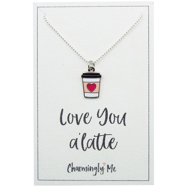 """Love You A'Latte"" Coffee Cup Enamel Charm Necklace on Gift Message Card"