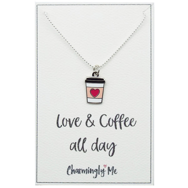 """Love & Coffee All Day"" Coffee Cup Enamel Charm Necklace on Gift Message Card"